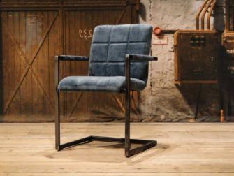 Blue industrial dining chair
