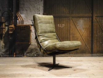 Fauteuil Bruno zonder armleuning - leer - olive
