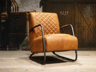 fauteuil cognac ronde buis