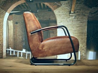 Fauteuil Cambrai ruit - buffel leer light brown
