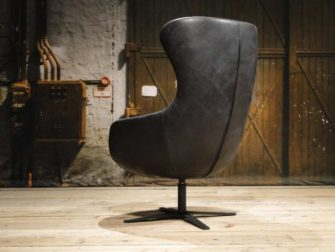 zwarte leren fauteuil