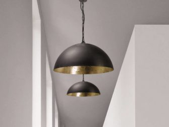 hanglamp gunmetal outside goldleaf inside