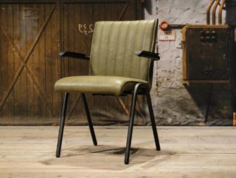 industrial leather dining chair olive