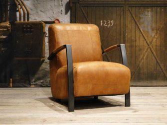 cognac fauteuil industrieel