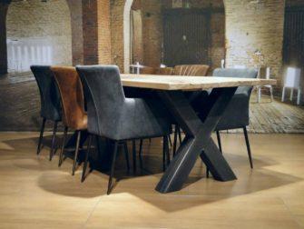 industriele eiken kruispoot tafel