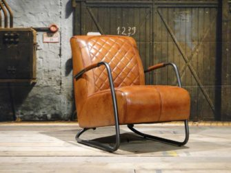 leren Fauteuil Cambrai ruit buffel leer Light Brown