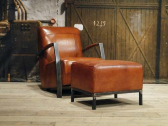 Fauteuil Basil - buffel leer light brown