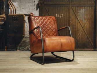 leren Fauteuil Cambrai ruit - light brown