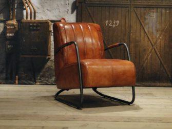 vintage Fauteuil Cambrai vertical - buffel leer light brown