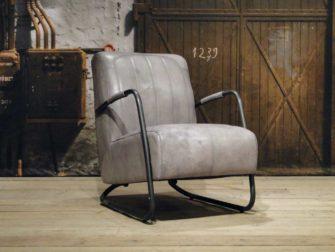 vintage Fauteuil Cambrai vertical - buffel leer vintage grey