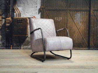 grijze Fauteuil Cambrai ruit - vintage grey