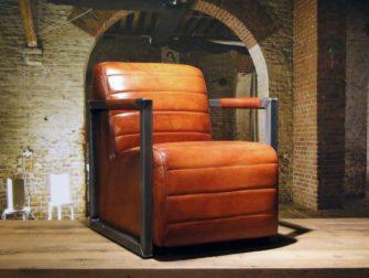 robuuste leren fauteuil cognac