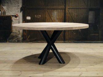 Ronde eiken tafel chaumont op maat gemaakt robuustetafels