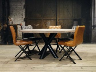 ronde industriele eiken tafel