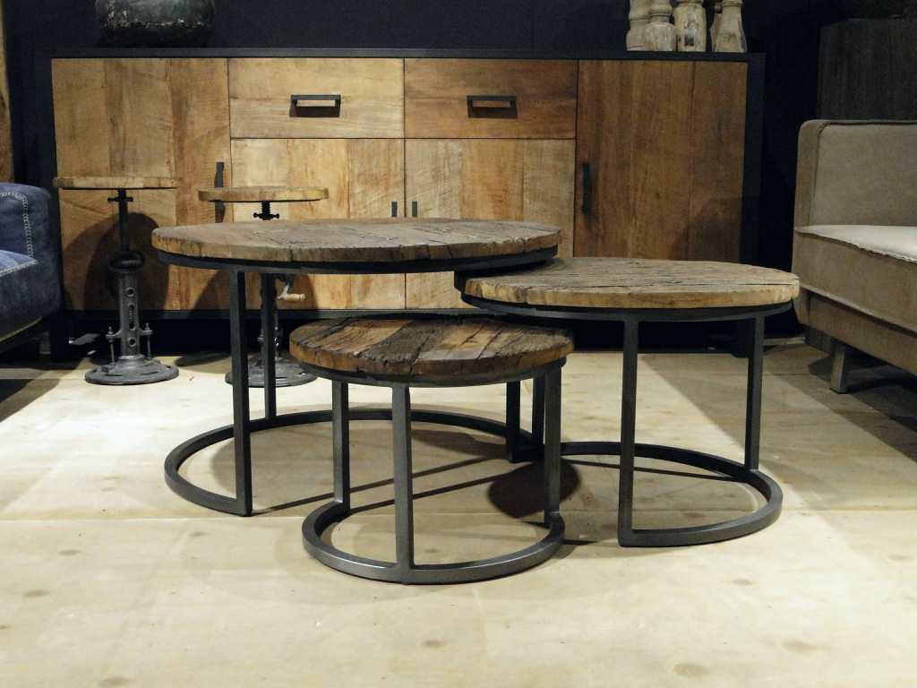 ronde salontafel oud hout